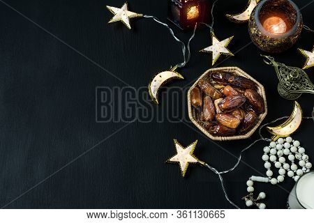 Table Top View Aerial Image Of Decorations Ramadan Kareem Holiday Background.flat Lay Date With Rosa