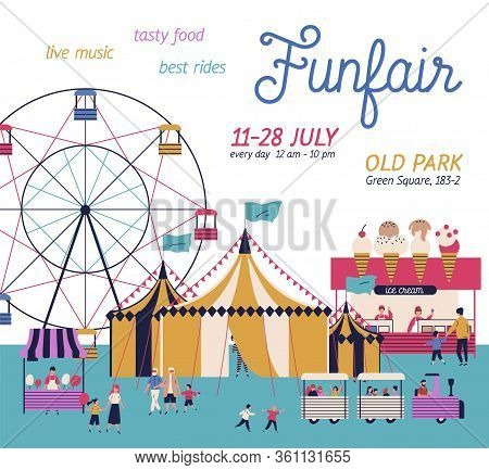 Amusement Park Poster With Circus, Ferris Wheel, Cotton Candy And Ice Cream Booth. Cartoon Tiny Peop