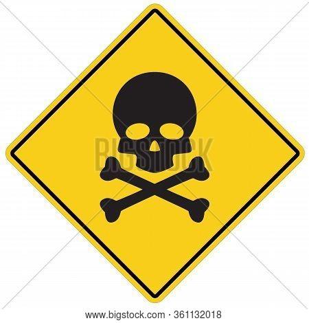 Skull And Bones Warning Icon On White Background. Flat Style. Deadly Danger Symbol. Skull Danger Sig
