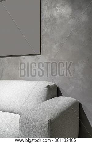 Interior Of Illuminated Modern Flat With Textured Gray Wall