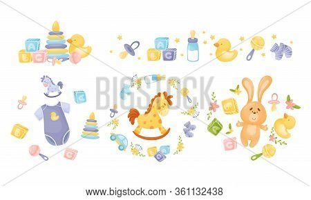 Baby Attributes And Toys With Rattles And Cubes Vector Set