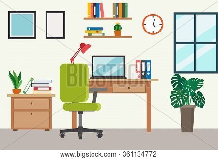 Vector Illustration Of Modern Home Office Workplace - Work From Home