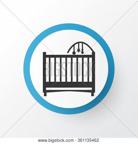 Crib Icon Symbol. Premium Quality Isolated Cot Element In Trendy Style.