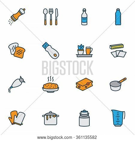 Gastronomy Icons Colored Line Set With Zester, Toast Bread, Measuring Cup And Other Elements. Isolat