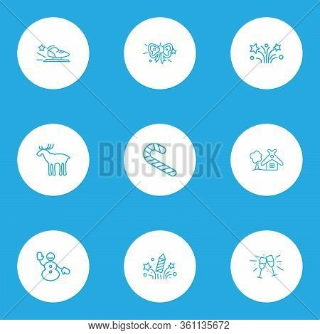 New Icons Line Style Set With Stemware, Fireworks, Candy Cane Cheers Elements. Isolated Illustration