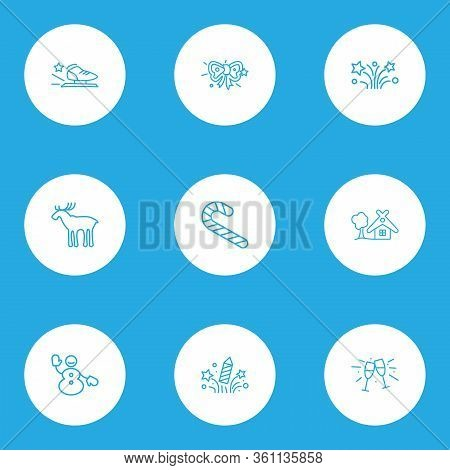 Holiday Icons Line Style Set With Stemware, Fireworks, Candy Cane Cheers Elements. Isolated Vector I