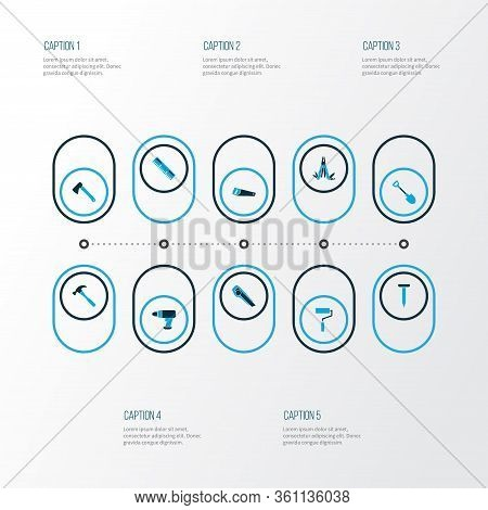 Tools Icons Colored Set With Hatchet, Measurement, Shovel And Other Cutter Elements. Isolated Vector