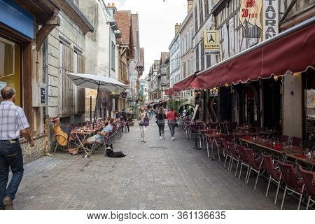 Troyes, France - August 31, 2018: Tourists Exploring The  Streets Of Medieval Troyes Old Town,  Aube