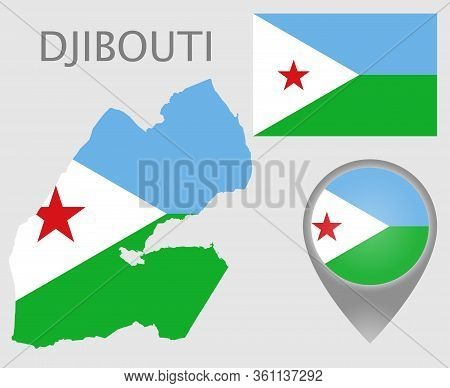 Colorful Flag, Map Pointer And Map Of Djibouti In The Colors Of The Djiboutian Flag. High Detail. Ve