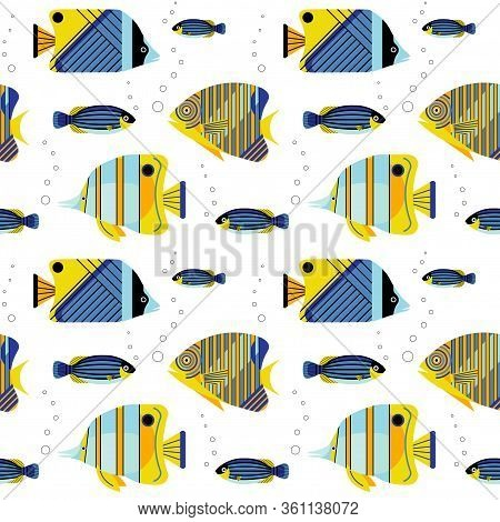 Angelfishes And Guppy Aquarium Fishes Seamless Pattern