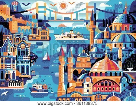 Istanbul Panoramic Cityscape Travel Horizontal Vintage Poster