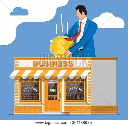 Shop Building Or Commercial Property, Man With Coin. Real Estate Business Promotional, Startup Crowd