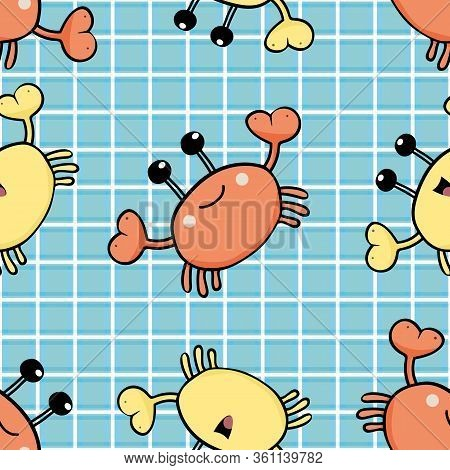 Happy Crab Vector Seamless Pattern Background. Orange, Yellow Cartoon Crustacean On Blue Plaid Backd