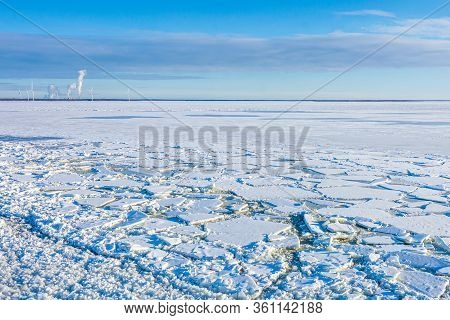 Windmills, Ice And Snow In The Lapland Country In Arctic Finland, Scandinavia