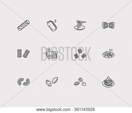Cuisine Icons Set. Macaroni Pasta Shape And Cuisine Icons With Fiocchi Rigatte Pasta Shape, Ciabatta