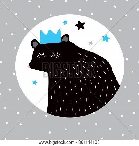 Ute Dreamy Black Bear In A Blue Crown. Childrens Room Decoration. Teddy Bear In A White Round Shape
