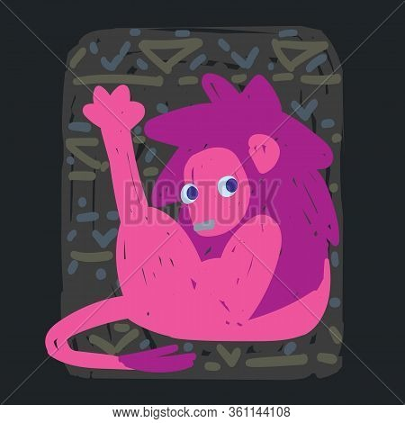 Leo. Funny Zodiac Sign. Colorful Vector Illustration Of Pink Lion Pulling Paw Up In Hand-drawn Sketc