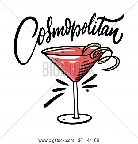 Cosmopolitan Cocktail. Flat Style. Colorful Cartoon Vector Illustration. Isolated On White Backgroun