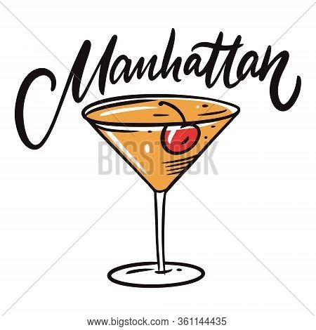 Manhattan Cocktail. Flat Style. Colorful Cartoon Vector Illustration. Isolated On White Background