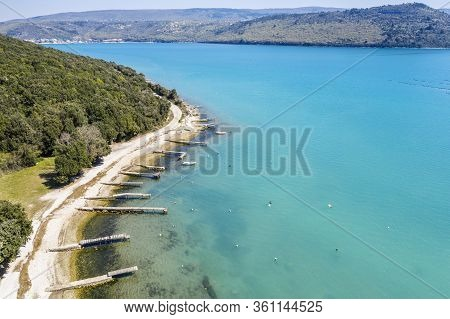 An Aerial View Of Blaz Bay, Beautiful Place In Rasa Bay, Istria, Croatia