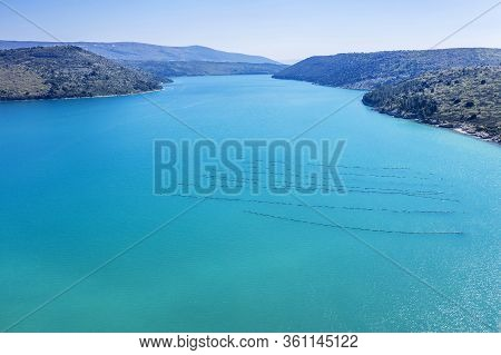 An Aerial View Of Rasa Bay, The Bay Is 12 Km Long And 1k M Wide, Istria, Croatia,