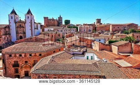Rooftop View On The Old Historical City Center Of Caceres, Extremadura, Spain. Travel And Tourism.