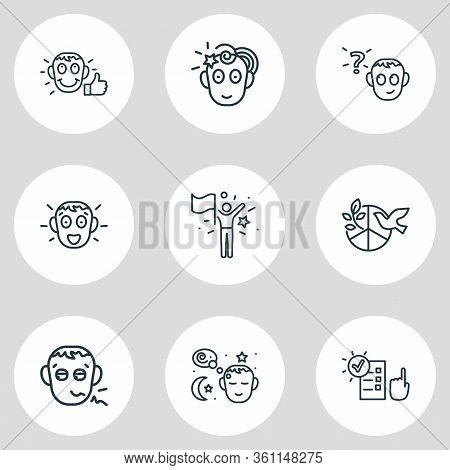 Vector Illustration Of 9 Emoji Icons Line Style. Editable Set Of Pathetic, Responsibility, Peace And