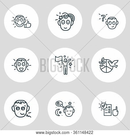 Illustration Of 9 Emoji Icons Line Style. Editable Set Of Pathetic, Responsibility, Peace And Other