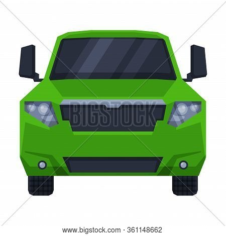 Front View Of Off Green Road Truck, Suv Pickup Car Flat Vector Illustration