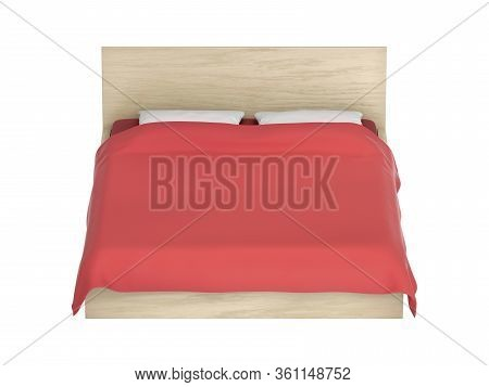 Comfort Bed With Red Duvet On White Background, 3d Illustration