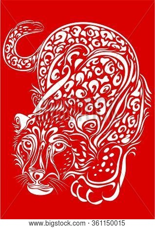 Stylized Leopard In White On A Red Background Sneaking, Isolated Object On A White Background, Vecto