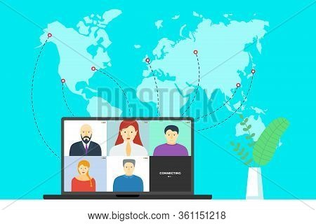 People Group On Laptop Screen Taking Part In Online Conference. Virtual Work Meeting And Distance Ed