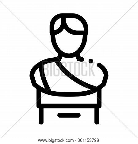 Bust Of Greek Emperor Icon Vector. Bust Of Greek Emperor Sign. Isolated Contour Symbol Illustration