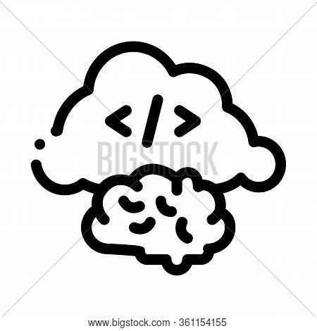 Brain Cloud Separation Icon Vector. Brain Cloud Separation Sign. Isolated Contour Symbol Illustratio