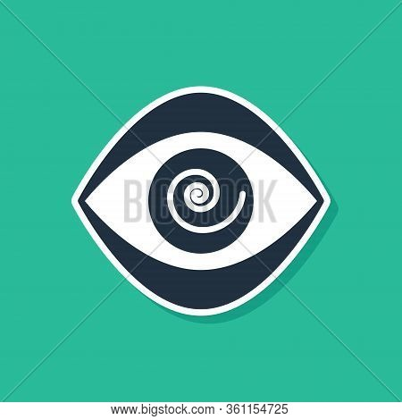 Blue Hypnosis Icon Isolated On Green Background. Human Eye With Spiral Hypnotic Iris. Vector Illustr