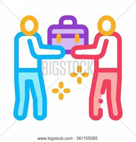 Common Work Of Two People Icon Vector. Common Work Of Two People Sign. Color Symbol Illustration