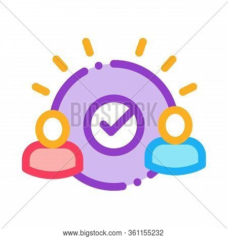 Two People Agreement Icon Vector. Two People Agreement Sign. Color Symbol Illustration