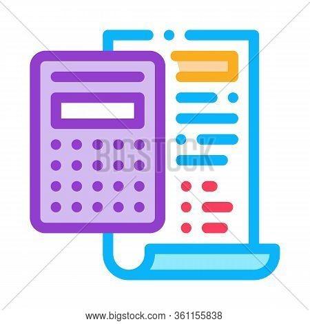Court Sentence Cache Calculation Icon Vector. Court Sentence Cache Calculation Sign. Color Symbol Il