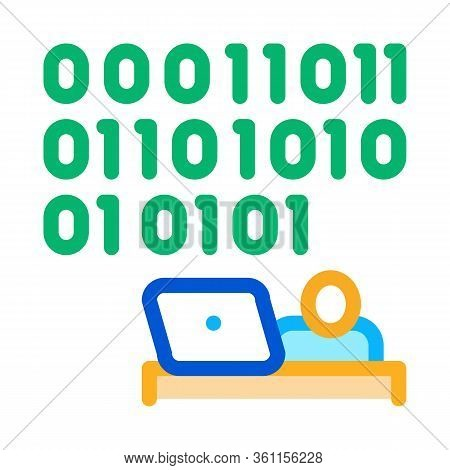 People Come Up With Binary Code Icon Vector. People Come Up With Binary Code Sign. Color Symbol Illu