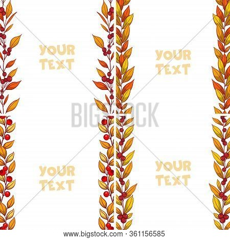 Set Of Autumn Borders; Foliate Frames For Greeting Cards, Invitations, Wedding Cards, Posters, Banne