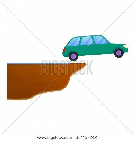 Car Accident Jump Icon. Cartoon Of Car Accident Jump Vector Icon For Web Design Isolated On White Ba