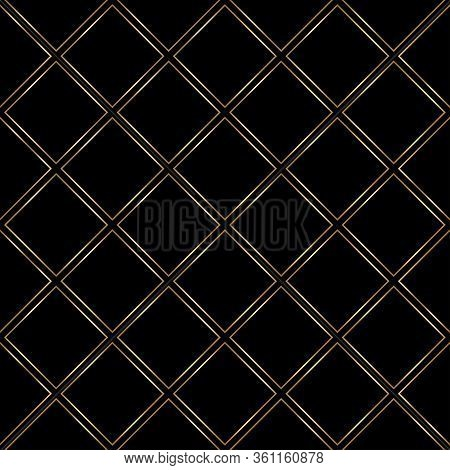 Gold And Black Pattern. Seamless Luxury Background