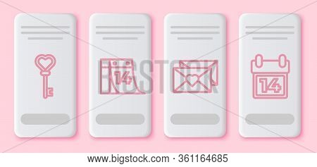 Set Line Key In Heart Shape, Calendar With February 14, Envelope With Valentine Heart And Calendar W