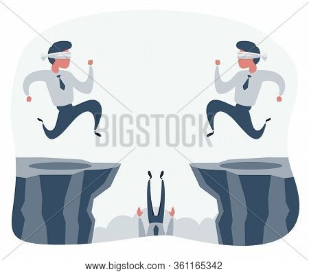 Blindfolded Businessman Walk To The Cliff. Business Concept. Vector Flat Design Illustration.