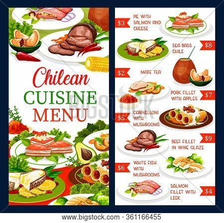 Chilean Cuisine Restaurant Vector Menu, Traditional Chile Food Meals And Dishes. South America Authe