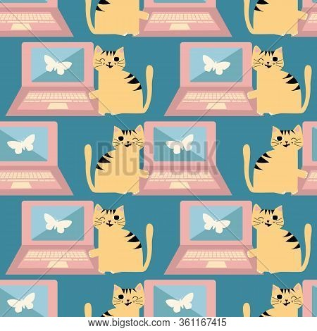 Cheeky Cartoon Cat And Laptop Vector Seamless Pattern Background. Ginger Kitty Next To Computer On P