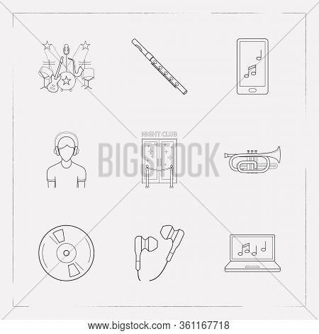 Set Of Melody Icons Line Style Symbols With Cornet, Vinyl, Music On Phone And Other Icons For Your W