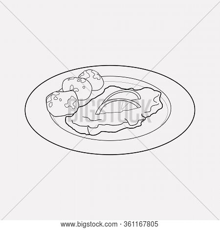 Austrian Wiener Schnitzel Icon Line Element. Vector Illustration Of Austrian Wiener Schnitzel Icon L
