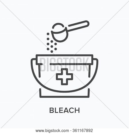 Chlorine Sanitizing Line Icon. Vector Outline Illustration Of Bucket And Spoon. Antibacterial Bleach