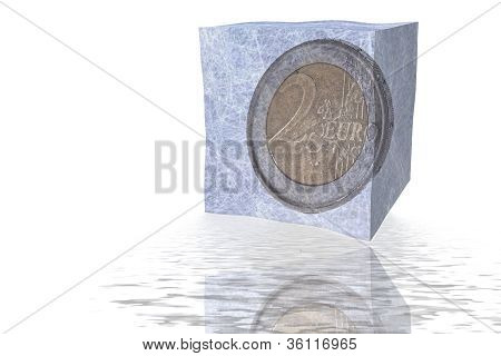 Two Euro Coin In Ice Cube